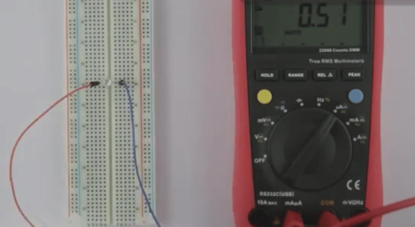 آزمایش تابش نور به LED